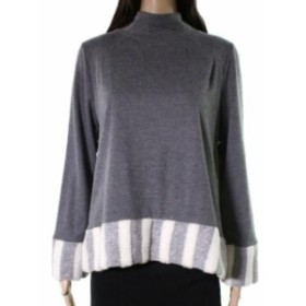 ファッション トップス Trisha Tyler NEW Gray Womens Size Medium M Cape Faux Fur Mock Sweater