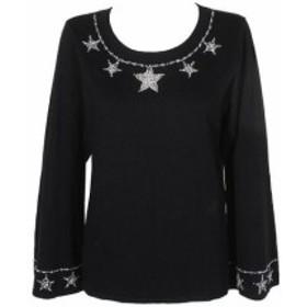 Silver  ファッション トップス Inc International Concepts Black Silver Embellished Sweater Boat Neck Sweater