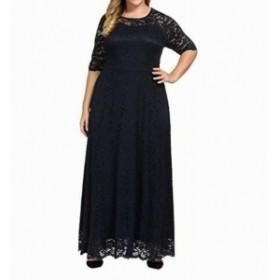 Maxi  ファッション ドレス Chicwe Womens Midnight Blue Size 2X Plus Scalloped Lace Maxi Dress