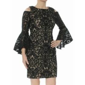 ファッション ドレス Xscape NEW Black Womens Size 6P Petite Cold-Shoulder Damask Dress