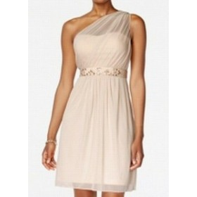 Adrianna Papell アドリアーナ パペル ファッション ドレス Adrianna Papell NEW Beige One-Shoulder Embellished Tulle Women 8 Dress