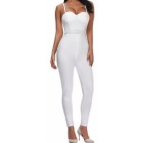 ファッション ジャンプスーツ Designer Brand Womens Jumpsuit White Size Large L Bandage Belted