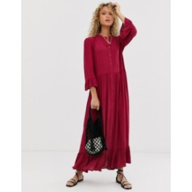 エイソス レディース ワンピース トップス ASOS DESIGN button through tiered smock maxi dress in crinkle Red