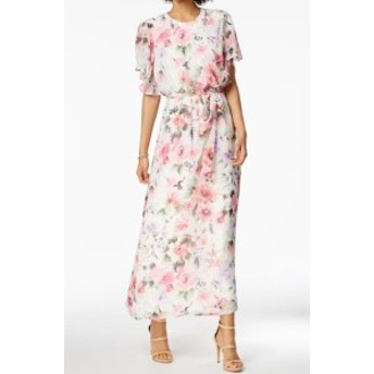 Nine West ナインウエスト ファッション ドレス Nine West Womens Dress Pink White Size 14 Maxi Belted Floral Print