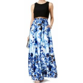 Betsy & Adam ベッツィアンドアダム ファッション ドレス Betsy & Adam Womens Blue Size 6 Floral Print Mesh Illusion Gown Dress