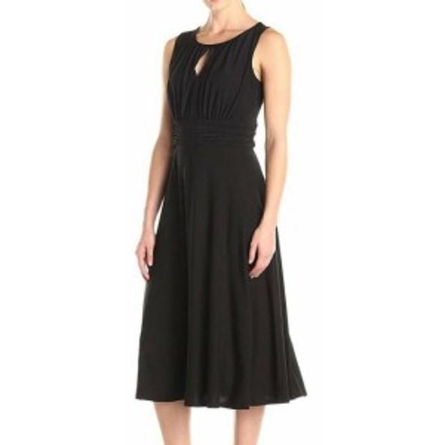 Nicole ニコール ファッション ドレス Danny & Nicole Womens Dress Black Size 18 Sheath Midi Keyhole Ruched