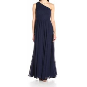 Eliza J エリザジェイ ファッション ドレス Eliza J NEW Blue Womens Size 8 One-Shoulder Shirred Chiffon Gown Dress