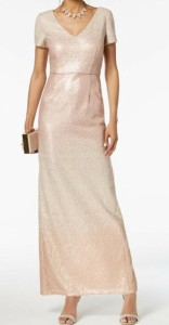 Adrianna Papell Womens Gown Pink Size 14 V-Neck Sequined Seamed ドレス ファッション アドリアーナ Adrianna Papell パペル