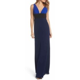 Jill Jill Stuart ジルジルスチュワート ファッション ドレス Jill Jill Stuart Womens Blue Size 6 Colorblock V-Neck Gown Dress