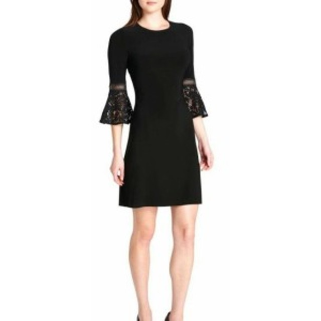 bell ベル ファッション ドレス Tommy Hilfiger Womens Dress Black Size 6 Sheath Bell Sleeve Lace
