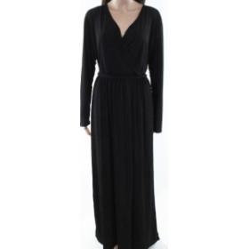 ファッション ドレス Koh Koh NEW Deep Black Womens Size 3 Surplice Belted Front Slit Gown