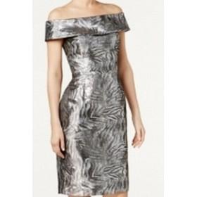 Calvin Klein カルバンクライン ファッション ドレス Calvin Klein NEW Silver Womens Size 4P Petite Metallic Sheath Dress