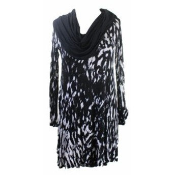 kensie ケンジー ファッション ドレス Kensie New Black & White Long-Sleeve Cowl-Neck Printed Dress M