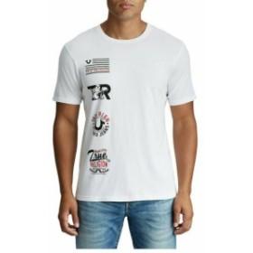 Religion  ファッション トップス True Religion Mens College Logo Patch Crew Neck Tee T-Shirt in White