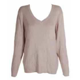 HEATHER  ファッション トップス Karen Scott Khaki Heather Cotton V-Neck Ripped Knit Long Sweater XXL