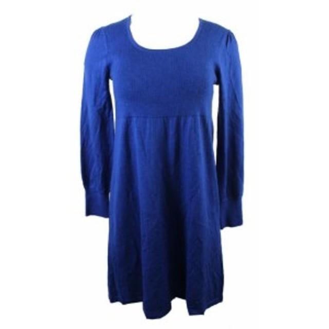 empire エンパイア ファッション ドレス Spense small royal blue purred sleeve empire waist knit dress pm