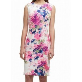 DKNY ダナキャランニューヨーク ファッション ドレス DKNY Womens Pink Size 4 Floral Print Scuba Seamed Sheath Dress