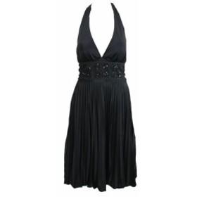 empire エンパイア ファッション ドレス Betsy Adam Black Empire Waist Pleated A-Line Halter Dress 6