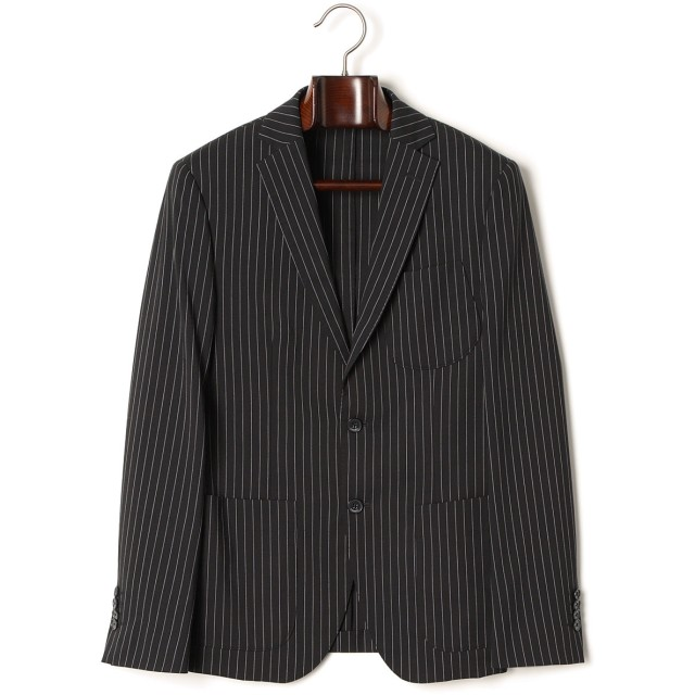 【84%OFF】ストライプ ノッチドラペル テーラードジャケット ブラック 50