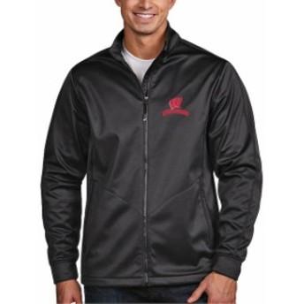 Antigua アンティグア スポーツ用品  Antigua Wisconsin Badgers Charcoal Golf Full-Zip Jacket