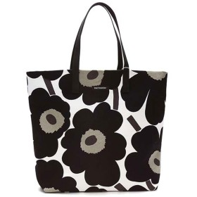 マリメッコ Marimekko SILJA SHOPPER BAG (WHITE/BLACK)