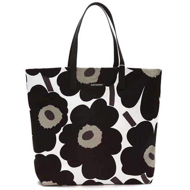 マリメッコ Marimekko SILJA SHOPPER BAG (WHITE/BLACK)