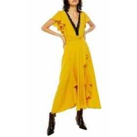 トップショップ TOPSHOP レディース ワンピース ミドル丈 ワンピース・ドレス Lace Inset Midi Dress Mustard