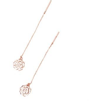 ARJE 14K Rose Gold Earrings イヤリング ローズゴールド スレッドイヤリングブラブラドロップチェーンペンダント女性用女の子、ローズフラワー