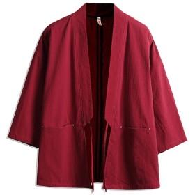 メンズ 綿麻 コート 和風 ゆったり 七分袖 原宿 BF風 前開き シンプル オシャレ 個性マント 浴衣ワインレッドXL