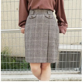 【SALE開催中】【NICOLE:スカート】起毛チェック柄台形スカート