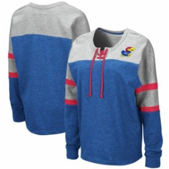 Colosseum コロセウム スポーツ用品  Colosseum Kansas Jayhawks Womens Royal Manolo Lace-Up French Terry Pullover Sweatshirt