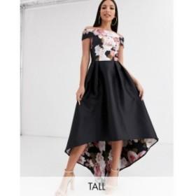 チチロンドン Chi Chi London Tall レディース ワンピース ワンピース・ドレス printed high low bardot dress in black floral print