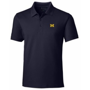 Cutter & Buck カッター アンド バック スポーツ用品  Cutter & Buck Michigan Wolverines Navy Forge Tailored Fit Polo
