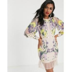 エイソス ASOS EDITION レディース ワンピース ミニ丈 ワンピース・ドレス blouson sleeve floral embroidered mini dress マルチカラー