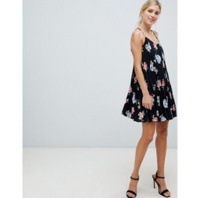 エイソス ASOS DESIGN レディース ワンピース キャミワンピ ワンピース・ドレス pleated swing mini cami dress in floral print マルチ