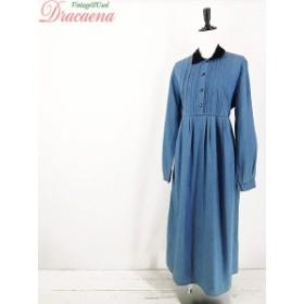 ワンピース古着 クラシック 切り替え 衿ベロア デザイン ブルー デニム 長袖 シャツ ワンピース M ロング丈 17lap29f
