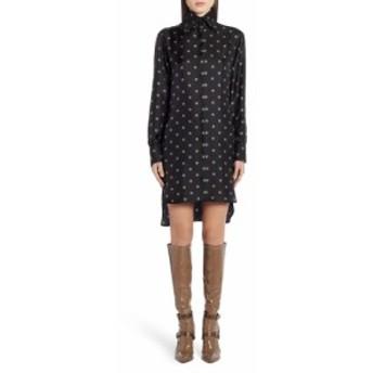 フェンディ FENDI レディース ワンピース シャツワンピース ワンピース・ドレス Logo Print Long Sleeve Silk Shirtdress Black