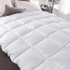 SONGLIBIN 側地100%綿掛け布団 洗える 掛けふとん 掛布団 抗菌防臭加工 ほこりが出にくい アレルギー対策 収納袋付き ふわふわ吸湿&通気 (ホワイト, 150210CM 総重量2.6KG)