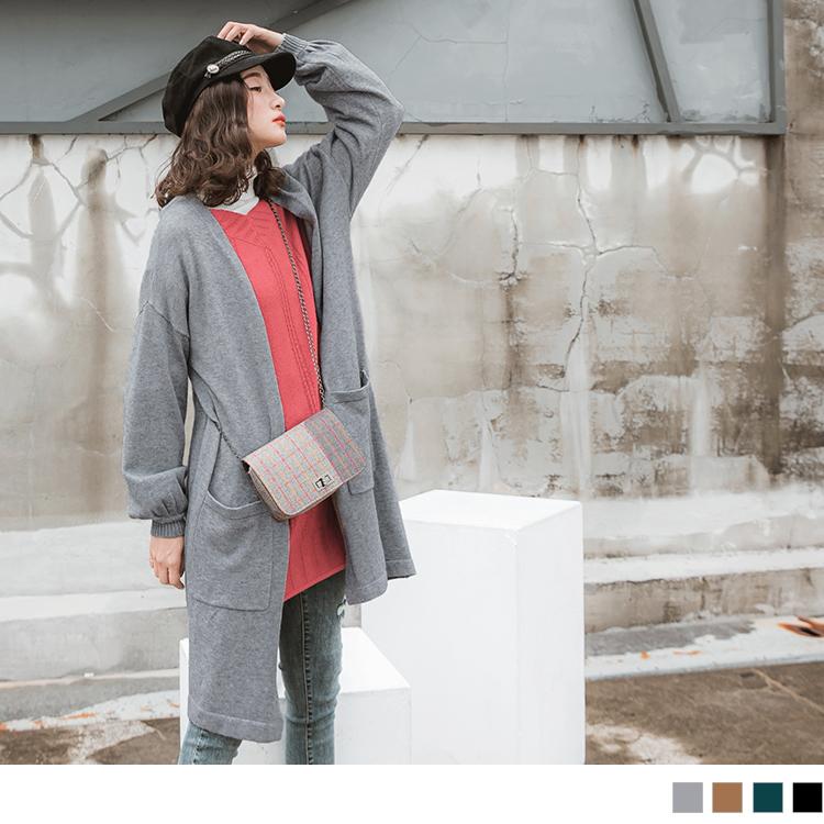 純色雙口袋拋拋袖包心紗針織寬鬆長版開襟外套
