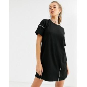 キキリキ Kikiriki レディース ワンピース ワンピース・ドレス cutout detail t shirt with zip detail in black ブラック