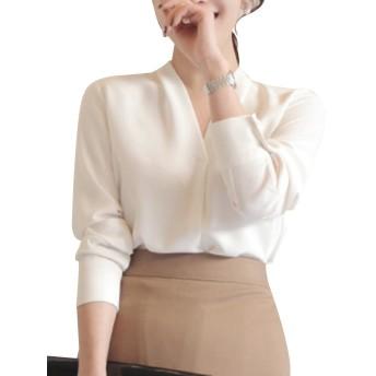 レディース Vネック シフォン ブラウス とろみ シャツ オフィス トップス 無地 長袖 OL (M, ホワイト)