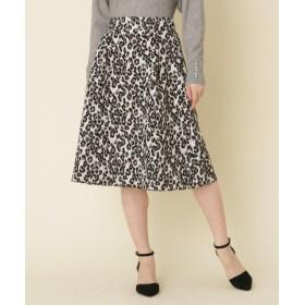 (Couture Brooch/クチュールブローチ)【WEB限定サイズ(LL)あり】コブラン織り レオパードスカート/レディース ホワイト(102)