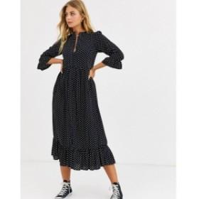 エイソス ASOS DESIGN レディース ワンピース ティアードドレス button through tiered smock maxi dress in spot ブラック/ホワイトスポ