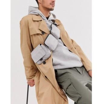 エイソス ASOS WHITE メンズ ショルダーバッグ バッグ multi pocket cross body bag in silver シルバー