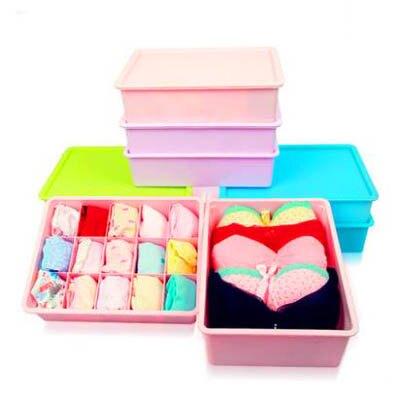 【多彩有蓋收納盒-多款可選-3款/組】內衣內褲襪子整理盒桌面儲物塑膠盒(可混搭)-7201004