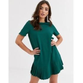エイソス ASOS DESIGN レディース ワンピース シフトドレス ミニ丈 ワンピース・ドレス sheer shift mini dress with pleated hem フォレ