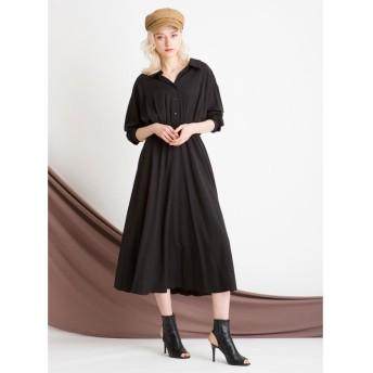 ミエリインヴァリアント Shirt Gather Dress レディース ブラック F(フリーサイズ) 【MIELIINVARIANT】