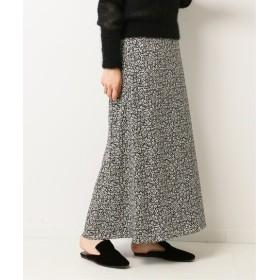 HARDY NOIR デシン小花ロングスカート ブラック 36