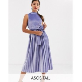 エイソス ASOS Tall レディース ワンピース ミドル丈 asos design tall exclusive sleeveless high neck pleated open back velvet midi