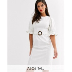 エイソス ASOS Tall レディース ワンピース デニム ミドル丈 ワンピース・ドレス asos design tall denim midi dress with puff sleeve i